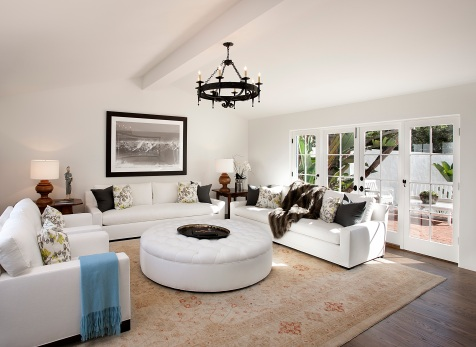 montecito spanish modern home family room