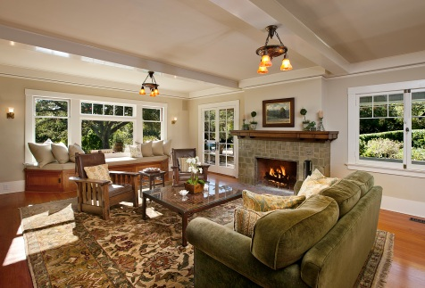 montecito craftsman home living room
