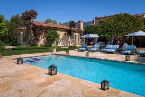 mediterranean home montecito pool