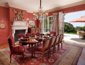 The formal dining room in an exclusive Montecito property