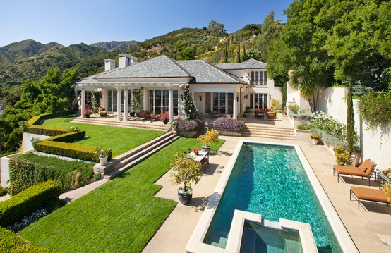 A palatial Montecito estate over looks the Pacific Ocean and acres of manicured grounds.