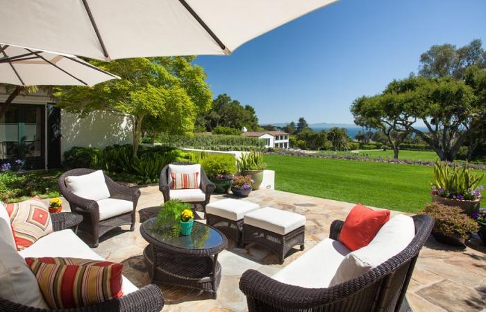 Ocean view terrace in a Santa Barbara home