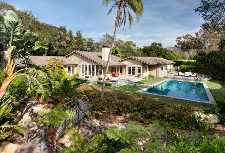 An inviting pool and verdant grounds accompany a bright and pristine 3bd/3.5ba residence at one of Montecito's best addresses.
